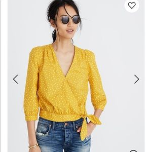 Madewell Wrap Top Star Scatter Yellow Size: Small